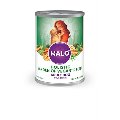 Halo Presents Halo Vegan Garden Recipe for Dogs 13.2oz-Case of 12. Wholesome Ingredients from the Earth Vegan Garden Medley is Gently Made with Nutrient Rich Chickpeas, Assorted Garden Vegetables and Nourishing Oils. This Complete and Balanced Recipe is Easily Digestible and Includes a Special Vegan Blend of Vitamins and Minerals. [37681]