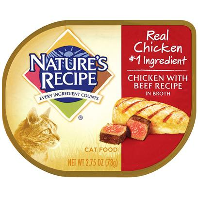 Del Monte Presents Nature's Recipe Cat Food Chicken with Beef in Broth 2.75oz - Case of 18. Nature's Recipe Cat Food Chicken with Beef Recipe in Broth, Give your Cat the Best of Both Worlds Chicken and Beef, it has Everything a Hungry Cat Could Ever Ask For. Is it Rich in Protein? Sure. Does it Contain B-Vitamins to Support Energy Levels? Of Course. Does all of that Get Even Better Served with the Tag-Team Flavors of Chicken and Beef? Just Ask your Cat. Nature's Recipe is More than Confident that you will have a Happier and Healthier Cat. [37694]
