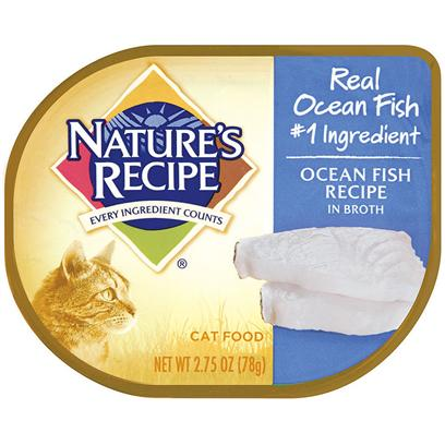 Del Monte Presents Nature's Recipe Ocean Fish in Broth Cat Food 2.75oz - Case of 18. Nature's Recipe Ocean Fish Recipe in Broth is Made from Big Chunks of Ocean Fish and Bathed in a Broth with Vitamins and Minerals. What More can a Cat Ask For? Vitamin E Supports your Cat's Skin and Coat and the Fish, Well, they do what Fish do Best - Taste Great. Your Favorite Feline will Love you Even More than they Already do from the Very First Time you Pop Open the Can! [37695]