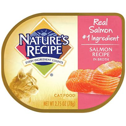 Del Monte Presents Nature's Recipe Salmon in Broth Cat Food 2.75oz - Case of 18. Does your Cat Love Salmon? Trick Question  of Course he Does. Nature's Recipe Salmon Recipe in Broth has the Salmon your Cat Craves, with the Vitamins and Protein he Needs to Help Keep Him Lean and Healthy. Reward your Favorite Feline Friend with this Delicious Recipe that will have Him Jumping with Excitement when it's Time to Eat. [37696]