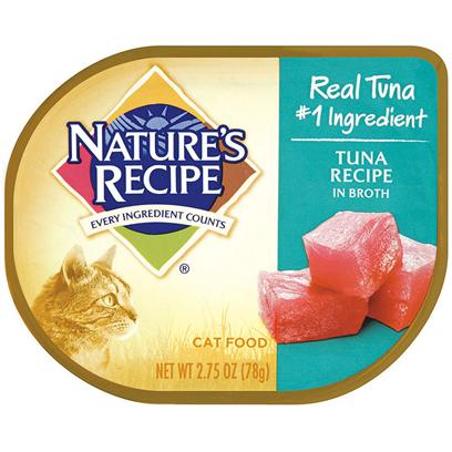 Del Monte Presents Nature's Recipe Tuna in Broth Cat Food 2.75oz - Case of 18. Nature's Recipe Tuna Recipe in Broth Combines Tender Chunks of Real Tuna with a Delicious, Flavorful Broth your Cat Can't Resist. Plus, it's Full of all the Protein and Minerals your Cat Needs to Stay in Top Yarn-Chasing Form, Even Past the Kitten Stage. [37697]