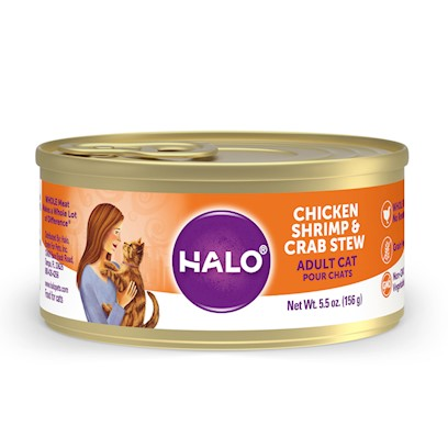 Halo Presents Halo Spot's Stew for Cats Chicken Shrimp &amp; Crab Recipe 3oz-Case of 12. Halo Spot's Stew Wholesome Chicken, Shrimp &amp; Crab Recipe has been the 'Gold Standard' in Natural Dog Food for over 25 Years. Only the Highest Quality Protein Whole Meats and Grains, Fresh Vegetables Giving this Original Recipe a Superb Taste and Digestibility. There is Absolutely no Inferior by-Products, Rendered Meats or Meals. Spot's Stew's Wholesome Chicken, Shrimp &amp; Crab Recipe is Formulated for Optimum Protein and Complete Nutrition Helping to Maintain Body Tone and Rebuild Body Tissue. And Better yet, it is Ideal for all Life Stages. So Whether you have a New Puppy or Senior Dog, Spot's Stew Wholesome Chicken, Shrimp &amp; Crab Recipe is the Right Choice for your Canine Friend. [37700]