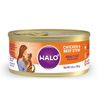 Halo Presents Halospot's Stew for Cats Wholesome Chicken &amp; Beef Recipe 3oz-Case of 12. Halo Spot's Stew Wholesome Chicken &amp; Beef Recipe has been the 'Gold Standard' in Natural Dog Food for over 25 Years. Only the Highest Quality Protein Whole Meats and Grains, Fresh Vegetables Giving this Original Recipe a Superb Taste and Digestibility. There is Absolutely no Inferior by-Products, Rendered Meats or Meals. Spot's Stew's Wholesome Chicken &amp; Beef Recipe is Formulated for Optimum Protein and Complete Nutrition Helping to Maintain Body Tone and Rebuild Body Tissue. And Better yet, it is Ideal for all Life Stages. So Whether you have a New Puppy or Senior Dog, Spot's Stew Wholesome Chicken &amp; Beef Recipe is the Right Choice for your Canine Friend. [37705]