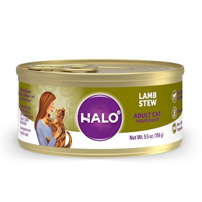 Halo Presents Halo Spot's Stew for Cats Wholesome Lamb Recipe 5.5oz-Case of 12. Halo Spot's Stew Wholesome Lamb Recipe has been the 'Gold Standard' in Natural Dog Food for over 25 Years. Only the Highest Quality Protein Whole Meats and Grains, Fresh Vegetables Giving this Original Recipe a Superb Taste and Digestibility. There is Absolutely no Inferior by-Products, Rendered Meats or Meals. Spot's Stew's Wholesome Lamb Recipe is Formulated for Optimum Protein and Complete Nutrition Helping to Maintain Body Tone and Rebuild Body Tissue. And Better yet, it is Ideal for all Life Stages. So Whether you have a New Puppy or Senior Dog, Spot's Stew Wholesome Lamb is the Right Choice for your Canine Friend [37708]