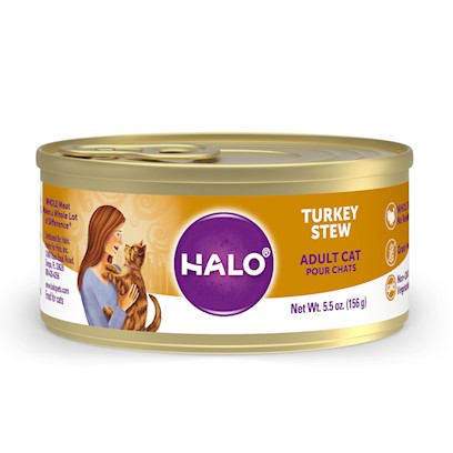 Halo Presents Halo Spot's Stew for Cats Wholesome Turkey Recipe 5.5oz-Case of 12. Halo Spot's Stew Wholesome Turkey Recipe has been the 'Gold Standard' in Natural Dog Food for over 25 Years. Only the Highest Quality Protein Whole Meats and Grains, Fresh Vegetables Giving this Original Recipe a Superb Taste and Digestibility. There is Absolutely no Inferior by-Products, Rendered Meats or Meals. Spot's Stew's Wholesome Turkey Recipe is Formulated for Optimum Protein and Complete Nutrition Helping to Maintain Body Tone and Rebuild Body Tissue. And Better yet, it is Ideal for all Life Stages. So Whether you have a New Puppy or Senior Dog, Spot's Stew Wholesome Turkey is the Right Choice for your Canine Friend. [37711]