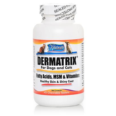 Kala Health Presents Kala Health Dermatrix for Dogs and Cats 45 Chewable Tablets. Used and Raved About by Veterinarians for Years, Dermatrix is Now Available to you without a Prescription. Often Referred to as the Best Skin Supplement Available for Pets, Dermatrix is Packed with Everything your Pet's Skin Needs to Look and Feel Great. If your Pet is Having a Skin Issue then Give Dermatrix a Try. This Chewable Wafer is Made with all-Natural Chicken &amp; Pork Flavor that your Pet is Going to Love. Best of all Kala Health Products are not only Made in the Usa but are Made with all Usa Ingredients. Dermatrix Unlike any Other is a Truly Comprehensive Skin &amp; Coat Supplement, Utilizing a Select Formula of a, E and B-Vitamins, Zinc and Omegas 3 &amp; 6 Fatty Acids Targeted to Promote Soft Healthy Skin and a Supple Coat. What Makes Dermatrix Even More Effective Most is the Addition of 200mg/Tablet of the World's Purest Msm, a Highly Bioavailable Form of Sulfur that the Body can Quickly Convert into New Collagen (Skin) and Keratin (Fur/Hair) Proteins, Often Delivering a Total Makeover for Many Pets Long Before the First Bottle is Empty. [37717]