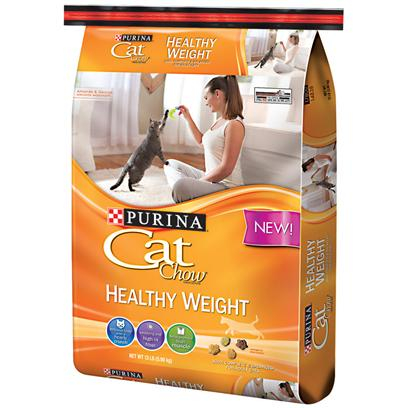 Purina Presents Cat Chow Healthy Weight 13lb Bag. Purina Cat Chow Healthy Weight Allows your Cat to Enjoy the Savory Flavor they Love while Maintaining a Healthy Weight and Lean Muscle. This Formula is High in Fiber, with a Satisfying, Hearty Crunch. Only the Finest Ingredients and a Select Blend of Protein, Carbs, and Fat in Every Bag of Purina Cat Chow. [37756]