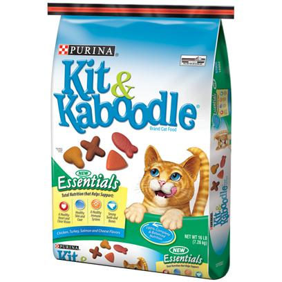 Purina Presents Kit & Kaboodle Essentials Cat Food 16lb Bag. Nutrition? And How! Every Bowl of Purna Kit & Kaboodle Essentials has Complete Nutrition that Helps Support a Healthy Heart and Clear Vision, Healthy Skin and Coat, a Healthy Immune System, Strong Teeth and Bones. Taste? And then Some! A Lip-Smacking Combination of Four Cat-Thrilling Flavors--Chicken, Turkey, Salmon and Cheese. Variety? And that's a Fact! Four Flavors and Four Fun Shapes...No 'Bowl Boredom' Happening Here! It Really is the Whole 'Kit & Kaboodle'! Purina Kit & Kaboodle Essentials is Formulated to Meet the Nutritional Levels Established by the Association of American Feed Control Officials (Aafco) Cat Food Nutrient Profiles for all Life Stages. - 100% Complete & Balanced Nutrition - Chicken, Turkey, Salmon and Cheese Flavors [37758]