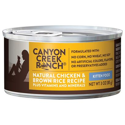 Nestle Purina Presents Canyon Creek Ranch Natural Chicken &amp; Brown Rice Recipe for Kittens 3oz-Case of 24. Canyon Creek Ranch Natural Chicken &amp; Brown Rice Recipe for Kittens, Sure to Please you New Kitten. [37760]