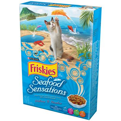 Purina Presents Friskies Seafood Sensations Dry Cat Food 16.2oz-Case of 12. Friskies Seafood Sensations Dry Cat Food is Like Taking your Cat on a Trip to Paradise. It's a Seaside Adventure for your Seafood-Loving Cat, with Enticing Aromas, Appealing Shapes and an Ocean of Flavors, Including Ocean Fish, Tuna, Salmon and Crab. Plus a Touch of Seaweed. This Delicious Formula is 100% Complete and Balanced Nutrition for Cats of all Life Stages, Ensures Strong, Lean Muscles Supported by High-Quality Protein, and Healthy Skin and Coat Promoted by Essential Fatty Acids and Zinc. [37771]