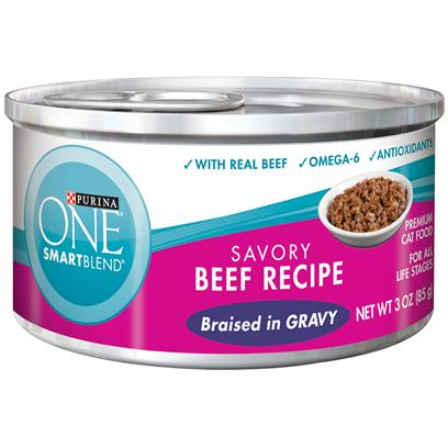 Purina Presents Purina One Smartblend Savory Beef Recipe Braised in Gravy 3oz-Case of 24. Purina One Smartblend Savory Beef Recipe Braised in Gravy Use Real Ingredients as the First Step in Providing your Cat with Complete, Balanced Nutrition and the Flavor of Real Beef that she'll Love. Best of all, You'll Know she has the Nutrients that Help her Pounce and Play, Including Antioxidants and Omega 6. [37784]