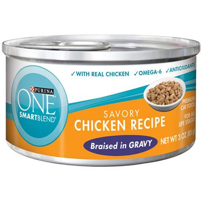 Nestle Purina Petcare Presents Purina One Smartblend Savory Chicken Recipe Braised in Gravy 3oz-Case of 24. Purina One Smartblend Savory Chicken Recipe Braised in Gravy Use Real Ingredients as the First Step in Providing your Cat with Complete, Balanced Nutrition and the Flavor of Real Chicken that she'll Love. Best of all, You'll Know she has the Nutrients that Help her Pounce and Play, Including Antioxidants and Omega 6. [37785]