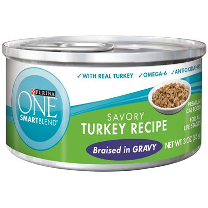 Nestle Purina Petcare Presents Purina One Smartblend Savory Turkey Recipe Braised in Gravy 3oz-Case of 24. Purina One Smartblend Savory Turkey Recipe Braised in Gravy Use Real Ingredients as the First Step in Providing your Cat with Complete, Balanced Nutrition and the Flavor of Real Turkey that she'll Love. Best of all, You'll Know she has the Nutrients that Help her Pounce and Play, Including Antioxidants and Omega 6. [37786]