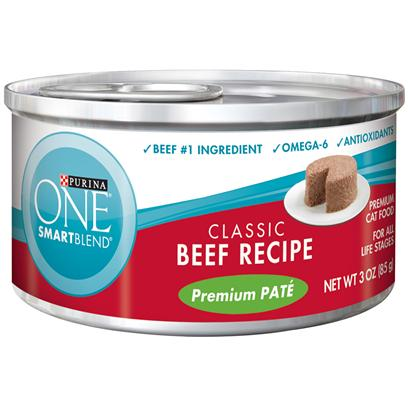 Nestle Purina Petcare Presents Purina One Smartblend Classic Beef Recipe Premium Pat 3oz-Case of 24. Purina One Smartblend Classic Beef Recipe Premium Pat Uses Real Ingredients as the First Step in Providing your Cat with Complete, Balanced Nutrition, Now with the Real Beef she Loves as the #1 Ingredient. Best of all, You'll Know she has the Nutrients that Help her Pounce and Play, Including Antioxidants and Omega 6. [37788]