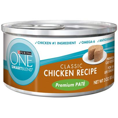 Nestle Purina Petcare Presents Purina One Smartblend Classic Chicken Recipe Premium Pat 3oz-Case of 24. Purina One Smartblend Classic Chicken Recipe Premium Pat Uses Real Ingredients as the First Step in Providing your Cat with Complete, Balanced Nutrition, Now with the Real Chicken she Loves as the #1 Ingredient. Best of all, You'll Know she has the Nutrients that Help her Pounce and Play, Including Antioxidants and Omega 6. [37789]