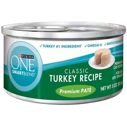 Nestle Purina Petcare Presents Purina One Smartblend Classic Turkey Recipe Premium Pat 3oz-Case of 24. Purina One Smartblend Classic Turkey Recipe Premium Pat Uses Real Ingredients as the First Step in Providing your Cat with Complete, Balanced Nutrition, Now with the Real Turkey she Loves as the #1 Ingredient. Best of all, You'll Know she has the Nutrients that Help her Pounce and Play, Including Antioxidants and Omega 6. [37790]