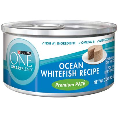 Nestle Purina Petcare Presents Purina One Smartblend Ocean Whitefish Recipe Premium Pat 3oz-Case of 24. Purina One Smartblend Classic Ocean Whitefish Recipe Premium Pat Uses Real Ingredients as the First Step in Providing your Cat with Complete, Balanced Nutrition, Now with the Real Ocean Whitefish she Loves as the #1 Ingredient. Best of all, You'll Know she has the Nutrients that Help her Pounce and Play, Including Antioxidants and Omega 6. [37791]