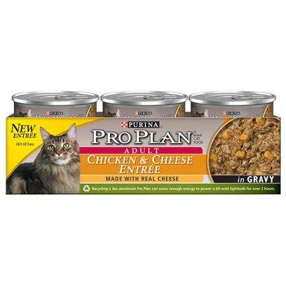 Purina Presents Purina Pro Plan Adult Chicken &amp; Cheese Entre in Gravy 3oz-Case of 24. Purina Pro Plan Chicken &amp; Cheese Entre in Gravy is Made with Real Cheese Inclusions, Rich in Omega Fatty Acids and Helps Support Immune System Health. [37795]
