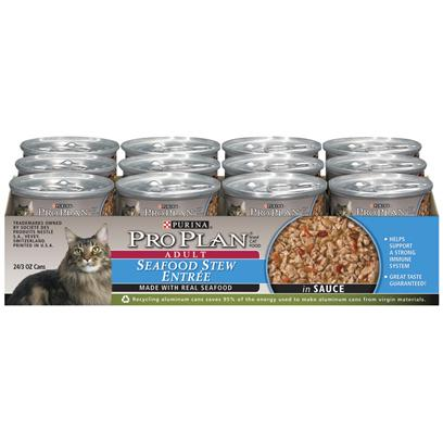 Purina Presents Purina Pro Plan Adult Seafood Stew Entre in Sauce 3oz-Case of 24. Purina Pro Plan Adult Seafood Stew Entre in Sauce is Made with Real Delicious Seafood, Omega Fatty Acids for Healthy Skin and Coat and Balanced Nutrition to Help Support a Strong Immune System. [37797]