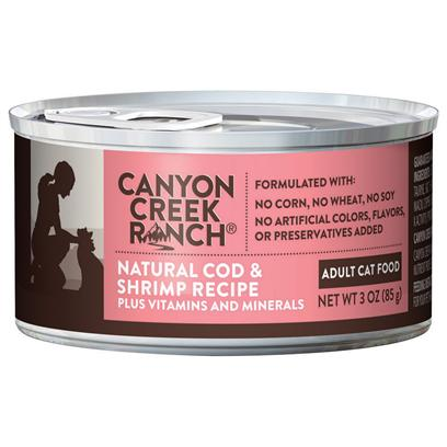 Purina Presents Canyon Creek Ranch Adult Cat Natural Cod &amp; Shrimp Recipe 3oz-Case of 24. Cany Creek Ranch Adult Cat Natural Cod &amp; Shrimp Recipe is a Natural Canned Cat Food that is Tasty, Wholesome and Formulated to Help Keep your Cat Healthy and Strong, Rich in Antioxidants. Cod is the #1 Ingredient Along with Turkey, Shrimp, Spinach and Wholesome Brown Rice. [37827]
