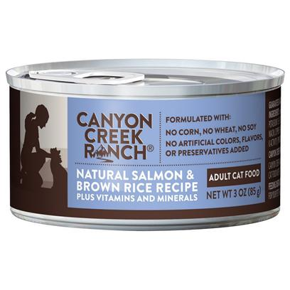 Purina Presents Canyon Creek Ranch Adult Cat Natural Salmon &amp; Brown Rice Recipe 3oz-Case of 24. Cany Creek Ranch Adult Cat Natural Salmon &amp; Brown Rice Recipe is a Natural Canned Cat Food that is Tasty, Wholesome and Formulated to Help Keep your Cat Healthy and Strong, Rich in Antioxidants. Salmon is the #1 Ingredient Along with Chicken, Wholesome Brown Rice, and Accents of Spinach. This all Natural Cat Food is Formulated without Corn, Wheat, Soy or Artificial Colors, Flavors or Preservatives. [37828]