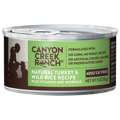 Purina Presents Canyon Creek Ranch Adult Cat Natural Turkey &amp; Wild Rice Recipe 3oz-Case of 24. Cany Creek Ranch Adult Cat Natural Turkey &amp; Wild Rice Recipe is a Natural Canned Cat Food that is Tasty, Wholesome and Formulated to Help Keep your Cat Healthy and Strong, Rich in Antioxidants. Turkey is the #1 Ingredient Along with Ocean Whitefish, Wholesome Wild Rice, and Accents of Spinach. This all Natural Cat Food is Formulated without Corn, Wheat, Soy or Artificial Colors, Flavors or Preservatives. [37829]