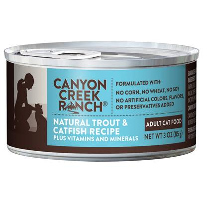Purina Presents Canyon Creek Ranch Adult Cat Natural Trout &amp; Catfish Recipe 3oz-Case of 24. Cany Creek Ranch Adult Cat Natural Trout &amp; Catfish Recipe is a Natural Canned Cat Food that your Cat is Sure to Love. [37830]