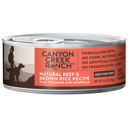 Purina Presents Canyon Creek Ranch Adult Dog Natural Beef &amp; Brown Rice Recipe 5.5oz-Case of 24. Cany Creek Ranch Adult Dog Natural Beef &amp; Brown Rice Recipe is a Natural Canned Dog Food that is Tasty, Wholesome and Formulated to Help Keep your Dog Healthy and Strong. [37831]