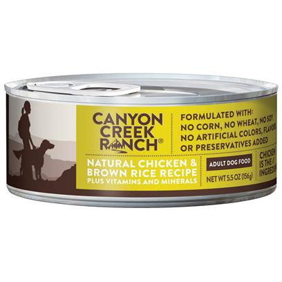 Purina Presents Canyon Creek Ranch Adult Dog Natural Chicken &amp; Brown Rice Recipe 5.5oz-Case of 24. Cany Creek Ranch Adult Dog Natural Chicken &amp; Brown Rice Recipe is a Natural Canned Dog Food is Tasty, Wholesome and Formulated to Help Keep your Dog Healthy and Strong. [37832]