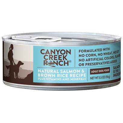 Purina Presents Canyon Creek Ranch Adult Dog Natural Salmon &amp; Brown Rice Recipe 5.5oz-Case of 24. Cany Creek Ranch Adult Dog Natural Salmon &amp; Brown Rice Recipe is a Natural Canned Dog Food that is Tasty, Wholesome and Formulated to Help Keep your Dog Healthy and Strong. [37833]