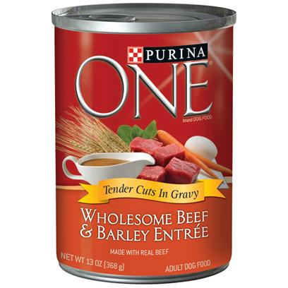 Nestle Purina Petcare Presents Purina One Wholesome Beef & Barley Entrée Tender Cuts in Gravy 13oz-Case of 12. Purina One Wholesome Beef & Barley Entrée Tender Cuts in Gravy will Make your Dog's Eyes Light Up when you Serve this Delicious Meal, Made with Complete Nutrition for Adult Dogs. At Purina they Believe in the Power of Real Ingredients and Great Taste. They also Know your Dog does, Too, and that's Why they've Added Great-Tasting Gravy to the Purina One Wholesome Entrées Tender Cuts in Gravy. [37840]