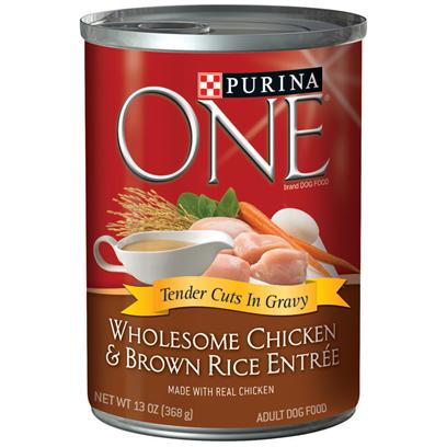 Purina Presents Purina One Wholesome Chicken &amp; Brown Rice Entre Tender Cuts in Gravy 13oz-Case of 12. Purina One Wholesome Chicken &amp; Brown Rice Entre Tender Cuts in Gravy will Make your Dog's Eyes Light Up when you Serve this Delicious Meal, Made with Complete Nutrition for Adult Dogs. At Purina they Believe in the Power of Real Ingredients and Great Taste. They also Know your Dog does, Too, and that's Why they've Added Great-Tasting Gravy to the Purina One Wholesome Entres Tender Cuts in Gravy. [37841]