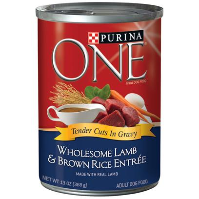Nestle Purina Petcare Presents Purina One Wholesome Lamb & Brown Rice Entrée Tender Cuts in Gravy 13oz-Case of 12. Purina One Wholesome Lamb & Brown Rice Entrée Tender Cuts in Gravy will Make your Dog's Eyes Light Up when you Serve this Delicious Meal, Made with Complete Nutrition for Adult Dogs. At Purina they Believe in the Power of Real Ingredients and Great Taste. They also Know your Dog does, Too, and that's Why they've Added Great-Tasting Gravy to the Purina One Wholesome Entrées Tender Cuts in Gravy. [37842]