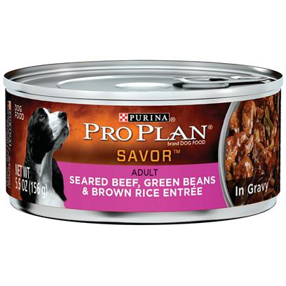 Nestle Purina Petcare Presents Purina Pro Plan Dog Seared Beef Green Beans &amp; Brown Rice Entre in Gravy 3oz-Case of 24. Purina Pro Plan Seared Beef, Green Beans &amp; Brown Rice Entre in Gravy is Made with Real Beef as the #1 Ingredient Complemented with Green Beans and Brown Rice. This Premium Recipe has Omega Fatty Acids that will Give your Dog Healthy Skin and a Gorgeous Coat and Balanced Nutrition to Help Support a Strong Immune System. [37844]