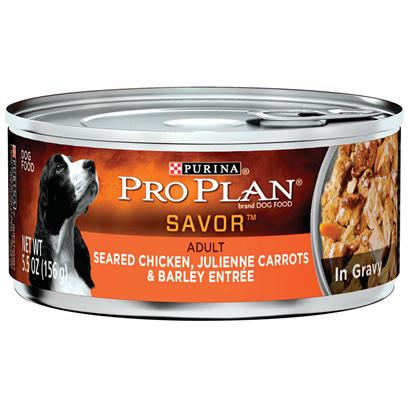 Purina Presents Purina Pro Plan Dog Seared Chicken Julienne Carrots &amp; Barley Entre in Gravy 3oz-Case of 24. Purina Pro Plan Dog Seared Chicken, Julienne Carrots &amp; Barley Entre in Gravy is Made with Real Chicken as the #1 Ingredient Complemented with Julienne Carrots and Barley. This Premium Recipe has Omega Fatty Acids that will Give your Dog Healthy Skin and a Gorgeous Coat and Balanced Nutrition to Help Support a Strong Immune System. [37845]
