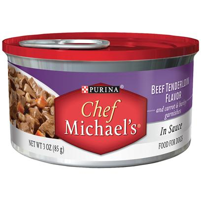 Nestle Purina Petcare Presents Purina Chef Michael's in Sauce Beef Tenderloin Flavor and Carrot &amp; Barley Garnishes 3oz-Case of 24. Purina Chef Michaels in Sauce Beef Tenderloin Flavor is a Delectably Rich Gourmet Flavor that Time and Dedication is Put in, to Carefully Craft this Recipe with Care. This Delicious Recipe is Filled with Tender, Meaty Pieces Made with Real Beef as the #1 Ingredient and a Thoughtful Touch of Real Carrot &amp; Barley Garnishes. [37854]