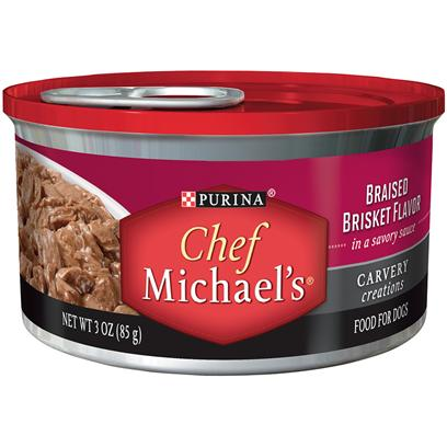 Nestle Purina Petcare Presents Purina Chef Michael's Carvery Creations Braised Brisket Flavor in a Savory Sauce 3oz-Case of 24. Purina Chef Michael's Carvery Creations Braised Brisket Flavor Celebrates Everything you and your Dog Love About Real Meat the Cut, Quality, Cooking Method and Special Touches. It is Prepared with Real Beef as the #1 Ingredient, Marinated in a Savory Sauce with Tender, Pull-Apart Shreds that Look as Good as they Taste. [37855]