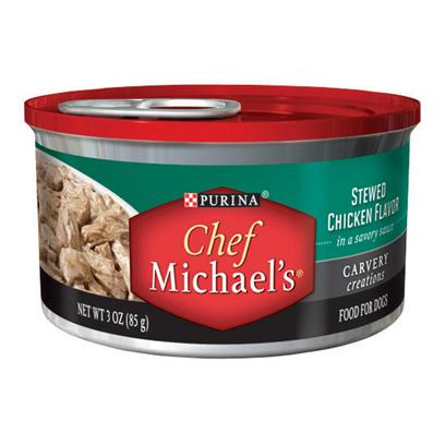 Nestle Purina Petcare Presents Purina Chef Michael's Carvery Creations Stewed Chicken Flavor in a Savory Sauce 3oz-Case of 24. Purina Chef Michael's Carvery Creations Stewed Chicken Flavor Celebrates Everything you and your Dog Love About Real Meat the Cut, Quality, Cooking Method and Special Touches. This Delicious Meal is Prepared with Real Chicken as the #1 Ingredient, Marinated in a Savory Sauce with Tender, Pull-Apart Shreds that Look as Good as they Taste. [37856]