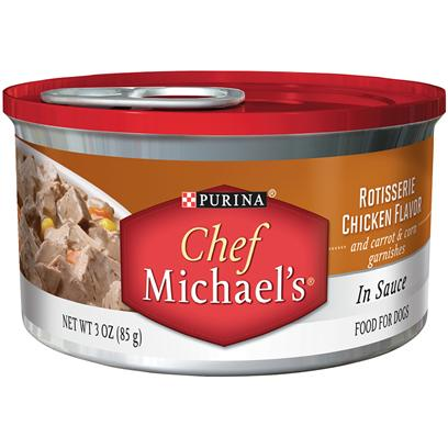 Purina Presents Purina Chef Michaels in Sauce Rotisserie Chicken Flavor and Carrot &amp; Corn Garnishes 3oz-Case of 24. Purina Chef Michaels Beef Tenderloin Flavor is a Delectably Rich Gourmet Flavor that Time and Dedication is Put in, to Carefully Craftthis Recipe with Care. This Delicious Recipe is Filled with Tender, Meaty Pieces Made with Real Beef as the #1 Ingredient and a Thoughtful Touch of Real Carrot &amp; Barley Garnishes. [37857]