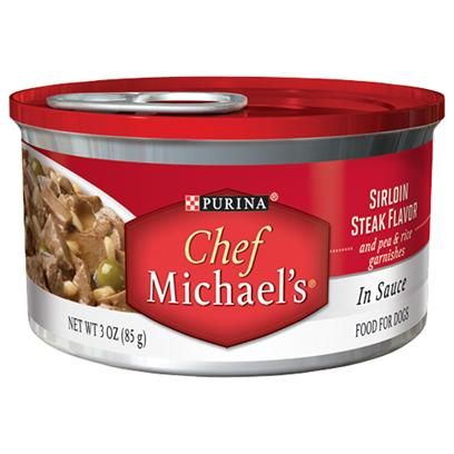 Nestle Purina Petcare Presents Purina Chef Michael's in Sauce Sirloin Steak Flavor and Pea &amp; Rice Garnishes 3oz-Case of 24. Purina Chef Michaels Sirloin Steak Flavor is a can of Mouthwatering Gourmet Goodness that Time and Dedication was Put in, to Carefully Craft this Recipe with Care. This Delicious Recipe is Filled with Tender, Meaty Pieces Made with Real Beef as the #1 Ingredient and a Thoughtful Touch of Real Pea &amp; Rice Garnishes. [37858]