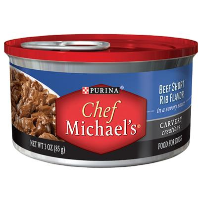 Purina Presents Purina Chef Michael's Beef Short Rib Flavor in a Savory Sauce 3oz-Case of 24. Purina Chef Michael's Beef Short Rib Flavor Celebrates Everything you and your Dog Love About Real Meat the Cut, Quality, Cooking Method and Special Touches. This Delicious Recipe is Prepared with Real Beef as the #1 Ingredient, Marinated in a Savory Sauce with Tender, Pull-Apart Shreds that Look as Good as they Taste [37859]