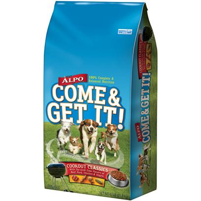 Nestle Purina Petcare Presents Purina Alpo Come &amp; Get it Cookout Classics 37lb Bag. Purina Alpo Come &amp; Get it Cookout Classics is Made Wih the Delicious Grill-Time Flavors of Pork, Chicken, Veggie &amp; Steak. With all of your Dog's Favorites, this will Definitely be One Meal they will not Miss. [37861]