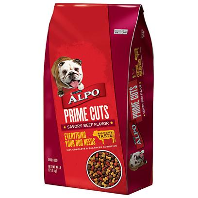 Purina Presents Purina Alpo Prime Cuts Savory Beef Flavor 47lb Bag. Purina Alpo Prime Cuts Savory Beef Flavor is Bursting with Meaty Taste in Exciting Shapes your Dog will Love. [37863]