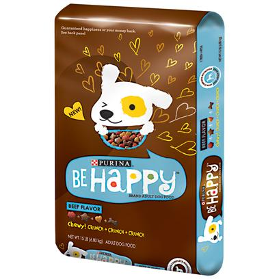 Purina Presents Purina be Happy Beef Flavor Dry Dog Food 15lb Bag. Purina be Happy Beef Flavor is Formulated to Meet the Nutritional Levels Established by the Aafco Dog Food Nutrient Profiles for Maintenance of Adult Dogs. There is a Mix of Crunchy Kibble and Tender Chewy Bites, that Provides a Delicious Way to Give your Adult Dog the 100% Complete Nutrition he or she Needs. This Includes Healthy Immune System; Energy; Vision; Muscles; Skin and Coat; and Strong Bones and Teeth. [37866]
