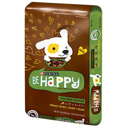 Purina Presents Purina be Happy Chicken Flavor Dry Dog Food 15lb Bag. Purina be Happy Chicken Flavor is Formulated to Meet the Nutritional Levels Established by the Aafco Dog Food Nutrient Profiles for Maintenance of Adult Dogs. There is a Mix of Crunchy Kibble and Tender Chewy Bites, that Provides a Delicious Way to Give your Adult Dog the 100% Complete Nutrition he or she Needs. This Includes Healthy Immune System; Energy; Vision; Muscles; Skin and Coat; and Strong Bones and Teeth. [37867]