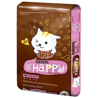 Purina Presents Purina be Happy Deep Sea Duos Dry Cat Food 13lb Bag. Purina be Happy Fish Flavor Dry Cat Food is More than a Cat Food--It's a Life Philosophy. And One which Cats Take to Heart. After all, have you Ever Met a Cat that Did Anything...Anything...That Didn't Bring them Happiness? Didn't Think So. Helps Support Whisker-to-Tail Good Health Including Healthy Immune System, Strong Bones &amp; Teeth, Healthy Skin &amp; Coat, Healthy Energy, Health Vision, Healthy Muscles. Purina be Happy Deep Sea Duos is Formulated to Meet the Nutritional Levels Established by Aafco Cat Food Nutrient Profiles for all Life Stages. - 100% Complete Nutrition [37868]
