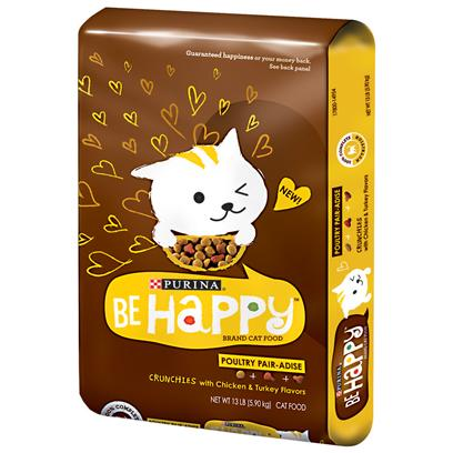 Purina Presents Purina be Happy Poultry Pair-Adise Cat Food-Chicken/Turkey 13lb Bag. Purina be Happy Poultry Pair-Adise More than Cat Food - it's a Life Philosophy. Everyone Knows it Doesn'T Take Much to Make their Cat Happy, so Why not Give them Something they will Love? Purina® be Happy Poultry Pair-Adise is Formulated to Meet the Nutritional Levels Established by Aafco Cat Food Nutrient Profiles for all Life Stages. It also has a Mix of Playful Shapes and the Tastes Cats Love, which Provides a Delicious Way to Give your Cat the 100% Complete Nutrition he or she Needs. [37869]
