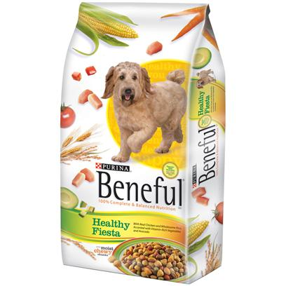Purina Presents Purina Beneful Healthy Fiesta Dry Dog Food 15.5lb Bag. Beneful Brand Dog Food Healthy Fiesta Provides Balanced Nutrition to Help Keep your Dog Happy and Healthy. It's Made with Real Chicken and Wholesome Rice, and Accented with Vitamin-Rich Vegetables and Avocado. [37871]