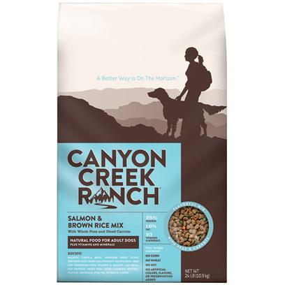 Purina Presents Canyon Creek Ranch Natural Chicken &amp; Brown Rice Mix 24lb Bag (37873). Canyon Creek Ranch Natural Chicken &amp; Brown Rice Mix is a Natural Dry Dog Food that is Tasty, Wholesome and Formulated to Help Keep your Dog Healthy and Strong. Chicken is the #1 Ingredient Along with Whole Peas and Diced Carrots. High-Quality Protein to Help Support Strong Muscles, Healthy Heart and Immune System, Healthy Skin, and Shiny Coat. [37873]