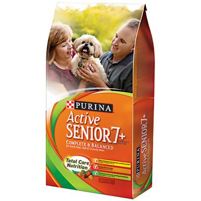 Purina Presents Purina Active Senior 7+ Complete &amp; Balanced for Adult Dogs Soft Crunchy Bites 16.5lb Bag. Purina Active Senior 7+ Complete &amp; Balanced is Specially Formulated for your Mature Dog's Needs, with a High Level of Protein, Antioxidants and Natural Sources of Glucosamine. Every Bowl Contains Easy-to-Chew, Soft &amp; Crunchy Bites to Help Keep your Dog Happy and Healthy Day After Day.Throughout your Dog's Lifetime, his Body is Building Replenishing, and Nourishing Itself 24 Hours a Day, 7 Days a Week. That's Why Purina Active Senior 7+ Brand Adult Dog Food is Specially Formulated to Provide the Smart Nutrition Needed to Optimize this Ongoing Lifelong Process, so your Dog Stays Vigorously Healthy Throughout Life. [37882]